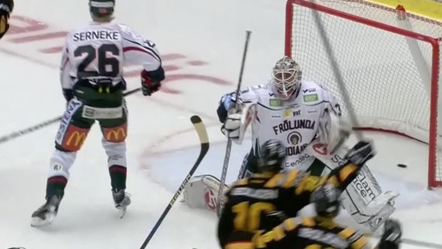 Shl Goalie Loses His Cool Tries To Fight Former Nhler That Scored