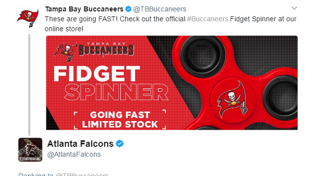 Hot A fidget spinner started this FalconsBucs Twitter fight, a cryptic