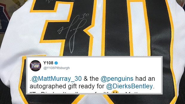 low priced 9d8aa bfe3b Matt Murray signed the perfect chirp onto Dierks Bentley's ...