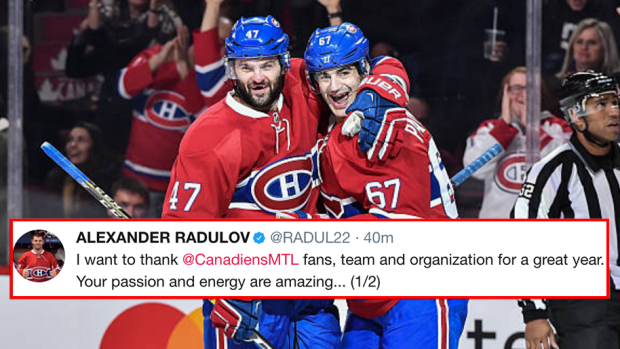 Radulov uses French in classy thank you message to Montreal fans on