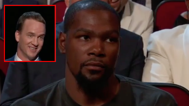 04826c48f1a3 Peyton Manning roasted Durant in his ESPYS opening monologue and KD wasn t  amused - Article - Bardown