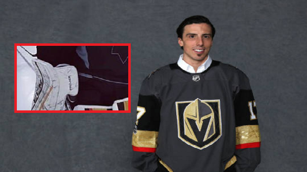 pretty nice 61017 8991a Marc-Andre Fleury shows off new Vegas pads while rocking ...