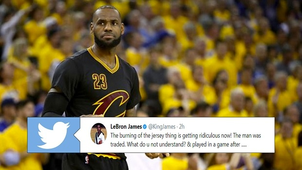 hot sale online 4b238 73d09 LeBron James tells fans to stop burning jerseys and defends ...