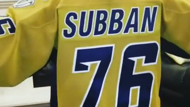 new product 8507f acbf9 P.K. Subban pumped up Preds fans with Preds old mustard ...