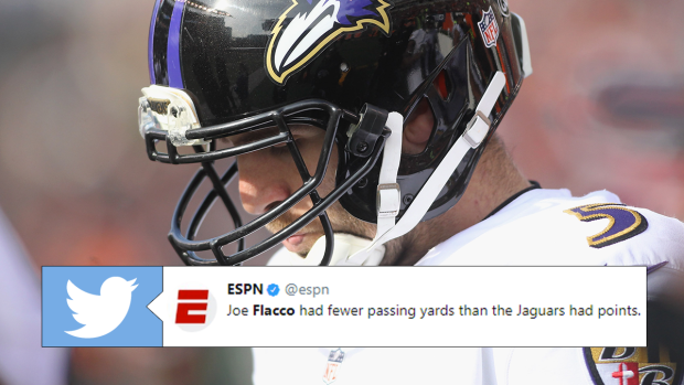 NFL fans are roasting Joe Flacco with stats after a dreadful