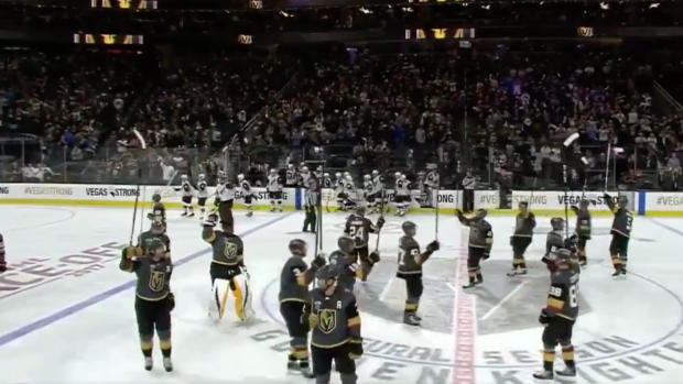 c442df06f08 The Coyotes stayed on the ice to salute the Vegas crowd after loss ...