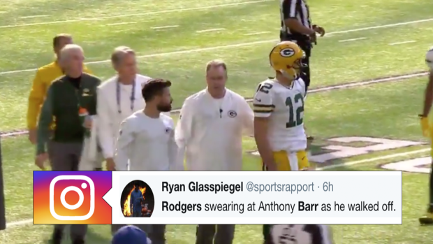 abbb734886e Aaron Rodgers got up and blasted Anthony Barr for the hit that broke his  collarbone - Article - Bardown