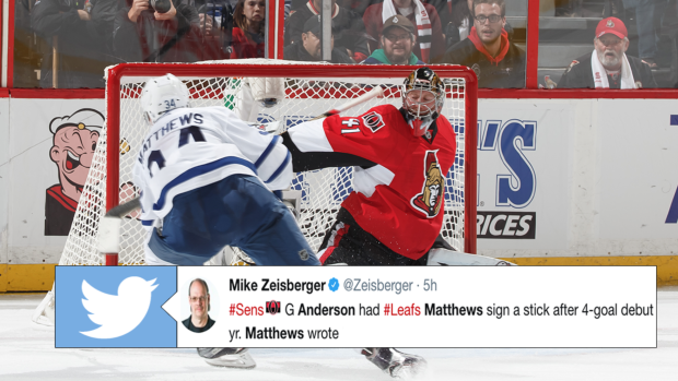 Matthews Reveals The Hilarious Message He Wrote On Anderson S Goalie