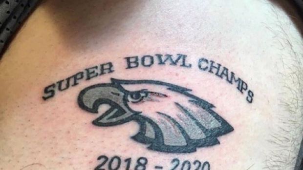 eagles fan gets tattoo claiming eagles will win the next three super bowls article bardown. Black Bedroom Furniture Sets. Home Design Ideas