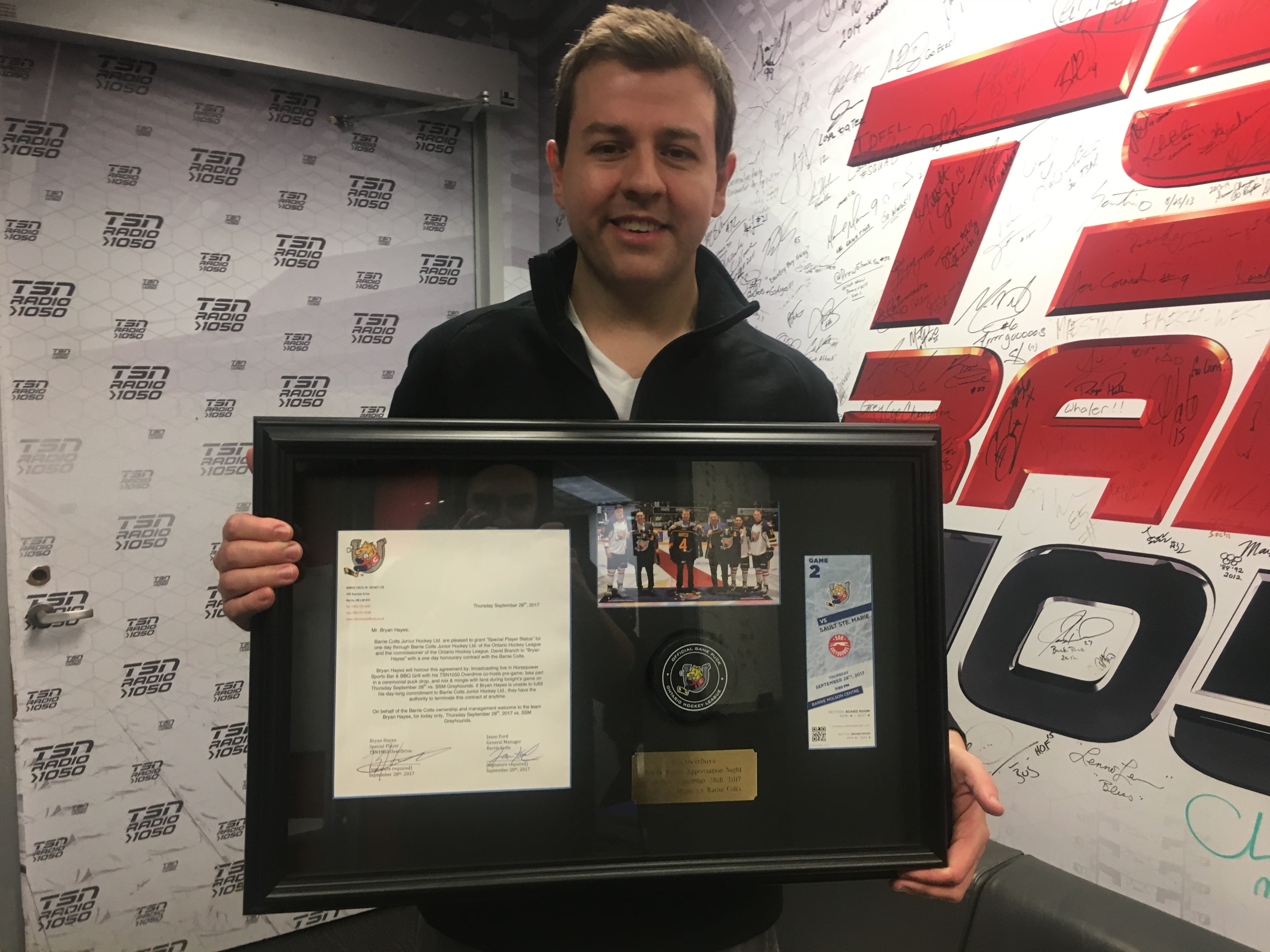The Barrie Colts Honoured Tsn S Bryan Hayes For His 47 Career Games And One Legendary Assist Article Bardown