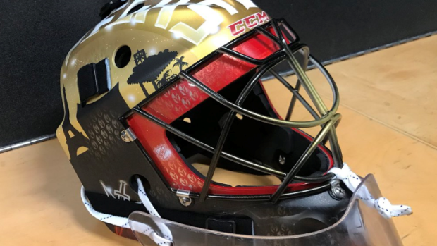 Malcolm Subban finally has a Vegas Golden Knights coloured mask - Article - Bardown