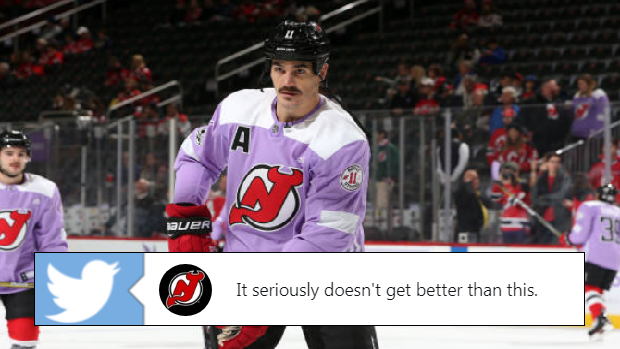 the best attitude f10b1 d0a11 Brian Boyle scored on Hockey Fights Cancer Awareness Night ...