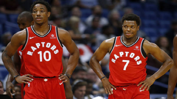 Demar DeRozan and Kyle Lowry during a 2017-18 regular season game.