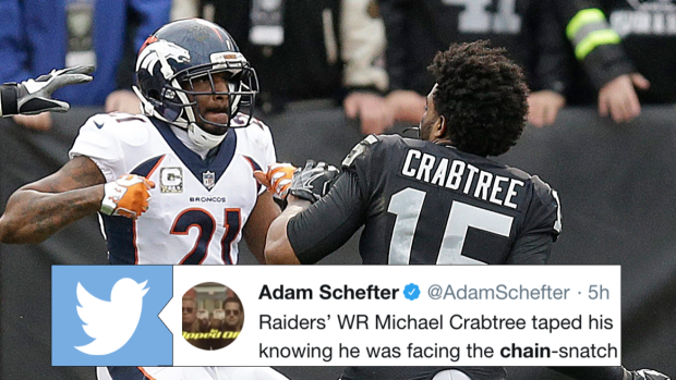 Michael Crabtree Vs Talib >> Crabtree actually had a plan to prevent Talib from taking his chain and it backfired in a big ...