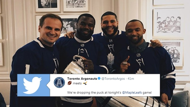 Toronto Argonauts' Matt Black, Lirim Hajrullahu, Tyler Holmes and Shawn Lemon