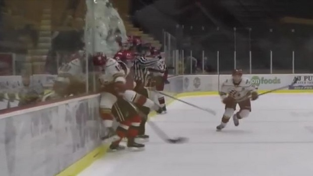 Connor Welsh delivers massive hip check