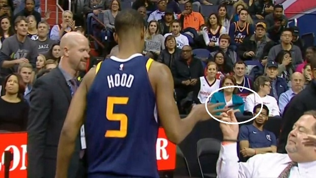 Rodney Hood smacks a fan's phone out of his hands