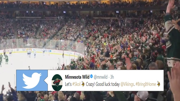 Minnesota Wild fans start a Skol chant during the game