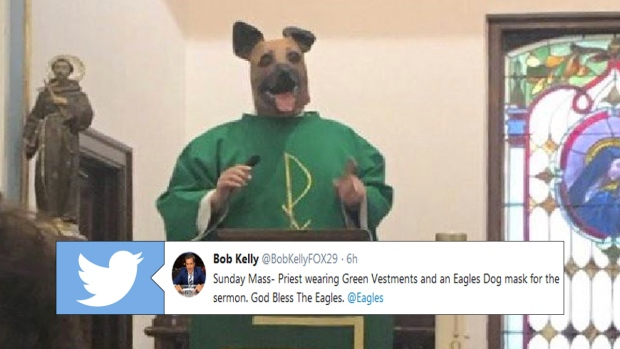 finest selection 1a550 beac9 A Philadelphia priest rocked a dog mask and a green vestment ...