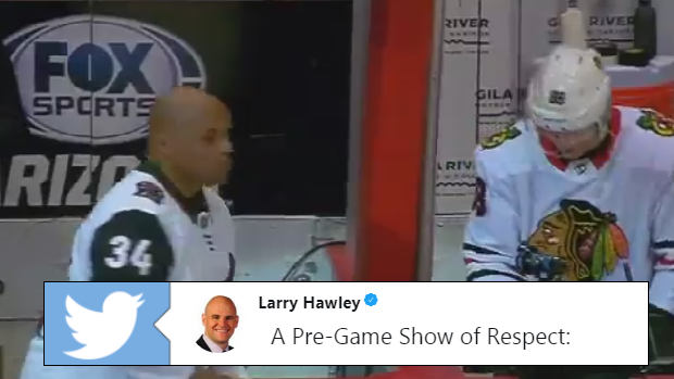 Charles Barkley and Patrick Kane shared a special moment ahead of the Coyotes vs. Blackhawks game.